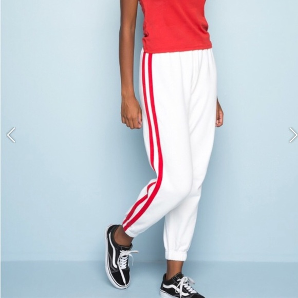 new season for sale website for discount White and red striped sweatpants